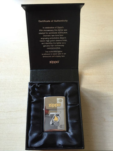 Zippo Commemorative Edition 75th Years in aufwändiger Schachtel